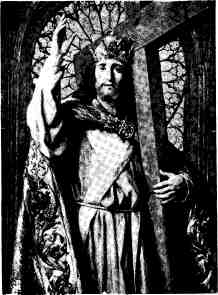 picture of Jesus with a crown giving blessing and holding the Cross with His left